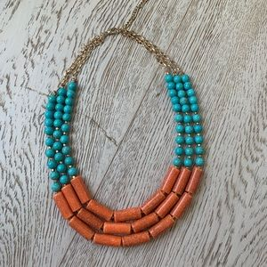 Turquoise and orange beaded necklace